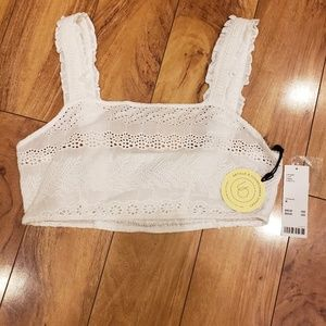 Urban Outfitters Tops - UO eyelet white cropped top